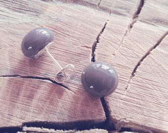 Fused Glass Earrings-Silver-Stud