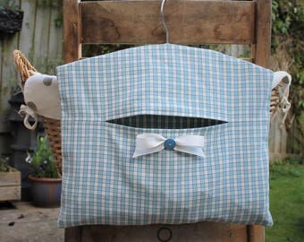 Clothespin Bag, Peg Bag in Blue and Cream Gingham Fabric
