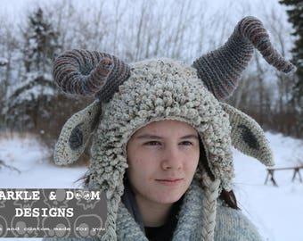 Krampus Hat, crochet horns handmade made to order