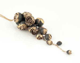 Flower Necklace Gold and Gray Porcelain  - 14 ct gold filled Chain,Wedding Necklace,   Bridal Jewelry, Mother Gift