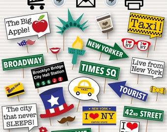 New York Party Photo Booth Printable Props - New Yorker Themed Party Props - I Love New York Party - Usa Party Props - INSTANT DOWNLOAD