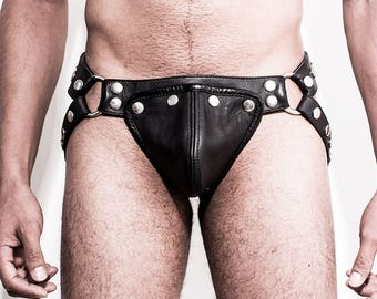 Leather Jockstrap with Nickel Buttons