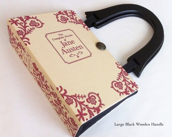 Jane Austen Book Purse - Jane Austen Recycled Book Bag - Pride and Prejudice Book Cover Handbag