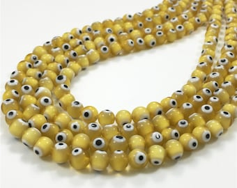 6mm Yellow Evil Eye Beads, Glass Evil Eye Beads, Round Glass Beads