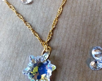 Swarovski Crystal Edelweiss Pendant, Crystal Pendant, Gold Necklace, Gift for her,