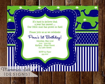 Whale Birthday Party Invitation, Whale Invitation, Whale Invite, Preppy Whale Invitation, Party Invite, Lil Squirt Invitation, Whale Party