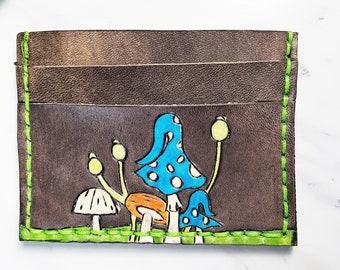 Mens Mushroom wallet, mens pocket wallet, mens minimalist wallet wallet, Mushroom wallet, unisex wallet