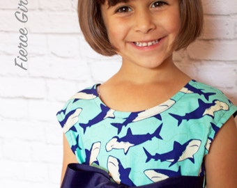 Shark Dress, Little Girl Dresses, Toddler Dress, Dress with Pockets, Play Clothes, Play Dress, Party Dress, Girl Clothes