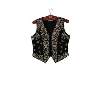 Women's Black Beige Cotton Vest  Embroidered  Waistcoat M/L Size