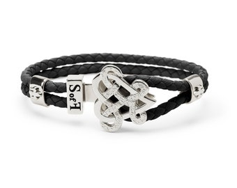 Eternity Love Bracelet Silver with Black Leather  (free shipping)