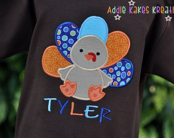 Personalized Cute Applique Turkey Kids Shirt