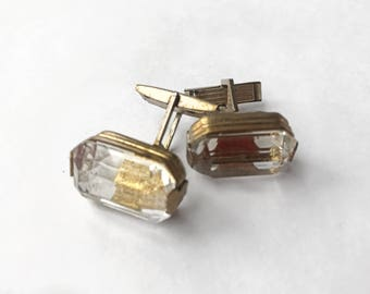 Crystal rock and gold tone metal cuff links from 1970s.