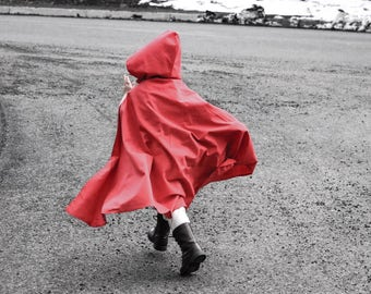 little red riding hood cape, little red riding hood costume, red cape, kids cape, cape with hood,halloween costume