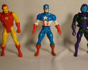 1984 Marvel Comics Group Secret Wars Action Figures -- Iron Man, Captain Marvel, Kang