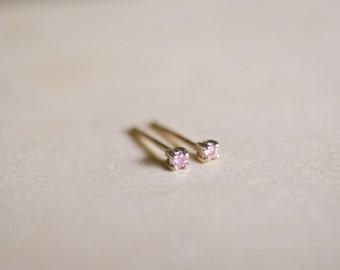 October Birthstone Mini Pink CZ Sterling Silver Studs