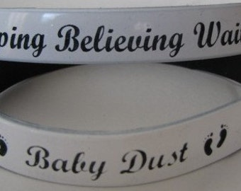 Hoping Believing Waiting/Baby Dust (White/Black) Color Coated Wristband