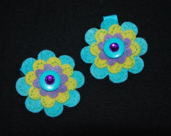 Felt Flower Hair Clips, Buy 3 Items, Get 1 FREE, Blue Yellow Turquoise Purple Hair Clips Spring Summer Baby Girl Hair Clips