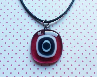 pink, black and white glass handmade pendant with necklace - free shipping