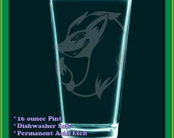 Zoroark Pokemon anime drinking glass - Zoroarc etched beer tumbler