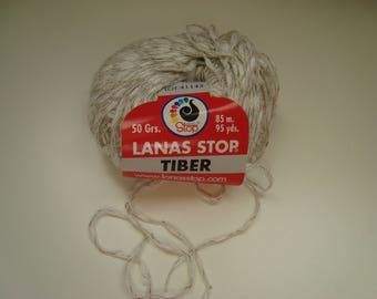 Pincushion 50g wool TIBER from Lanas Stop - Ecru/Beige - needles 4 - 5 - linen and viscose