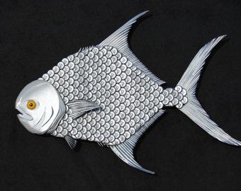 Metal Bottle Cap Pompano Fish Wall Art - Coors Bottlecap Permit Fish