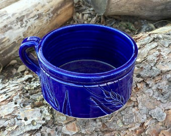 Cobalt Blue Wheat Soup Mug Handmade Pottery by Daisy Friesen