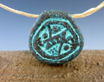 Mykonos Green Patina Fossil Pendant, 38mm, Ceramic with Verdigris Patina, Large Hole Bead, Made in Greece, BF2G