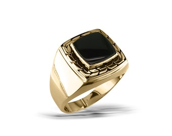 Mens gold black onyx ring Mans gold collegiate ring