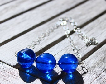 Blue Layering necklace, Sterling Silver necklace, Blue Lucite necklace, Lucite necklace, Blue bead necklace, Free Shipping