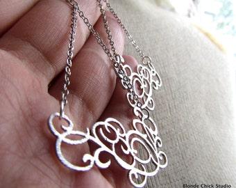 ELSIE-Silver Scroll Filigree Chandelier Chain Earrings