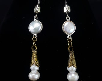 Pearl Dangle Earrings with Freshwater Natural Pearls Beads and Sterling Silver Hooks 2.75""