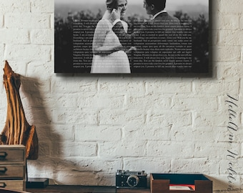1st anniversary gift , Wedding Vow CANVAS, 5th Anniversary Gift, Framed Wedding Vows, Wedding Vow Keepsake, Anniversary Gift, Gift for Groom