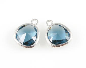 2pcs Montana Blue Faceted Glass Charm in Rhodium, Framed Glass Gem / Birthstone / September / Sapphire / 13mm x 16mm / GMBRH-004-P (Medium)