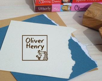Custom Wee Hedgehog In A Frame Olive Wood Stamp