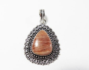 Sunstone Pendant, Natural Sunstone Gemstone Pendant, Sterling Silver Gemstone Pendant, 54x34mm, Sunstone Necklace, Sunstone Gemstone Jewelry