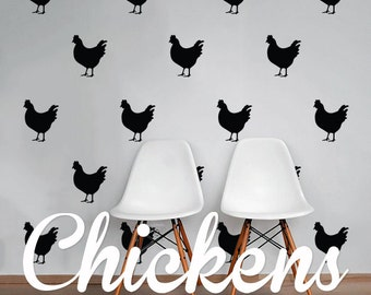 Chickens Wall Decal Pack, Modern Animals Geometric Pattern Vinyl Wall Stickers WAL-2212