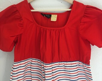Vintage Dress, vintage maxi, maternity dress, red white and blue, Belinda, Vintage Clothing