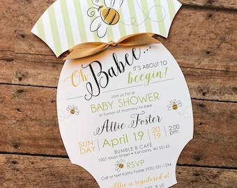 Oh BaBee Striped Shower Invitation, Bumble Bee Baby Shower Invitation, Onesie Baby Shower Invitation, Spring Garden Baby Shower Invitation