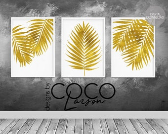 Gold Palm Leaf Print, Palm Leaves, Palm Poster, Palm Printable, Tropical  Print