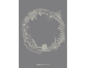 The Burren Wreath Print - An Intricate Hand Drawn Study of the flora and fauna found in The Burren. A Perfect Irish gift !