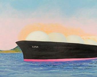 Moon Seascape Art Print Fantasy Surreal Ship