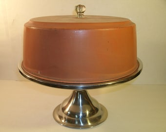 Vintage Stainless Steel Covered Cake Stand Glass Knob Handle Painted Metal Cover Lid Pedestal Base Retro Mid Century Kitchen Serving Plate