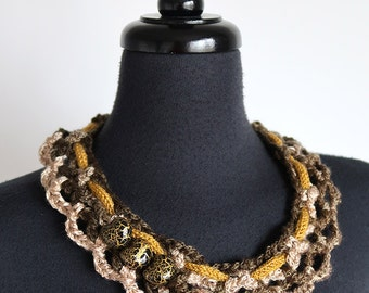Brown Taupe Beige Color Statement Fiber Crochet Collar Necklace Mustard Cord Three Beads