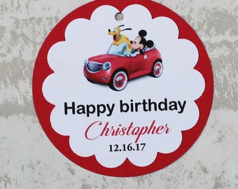 Personalized  Mickey Mouse birthday tags - Mickey Mouse favor tags - Mickey party tags - Mickey Mouse theme tags