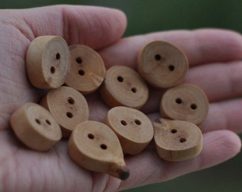 handmade wood birch buttons  • set of 10  • birch wooden button