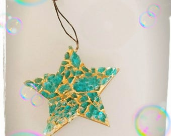 Mosaic turquoise and gold glass star