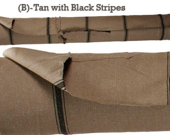 """Grain Sack Fabric - Farmhouse Fabric - Tan Fabric - Black 3 Stripe - 54"""" Wide - Upholstery Weight - CONTINUOUS CUT"""