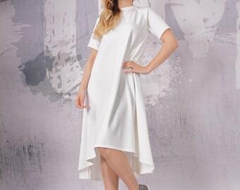 A line dress, loose tunic dress, maternity dress, tunic dress, short sleeved dress, white dress, white midi dress  - FP-049-PU