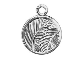 Charm Circle with Leaves Sterling Silver 925