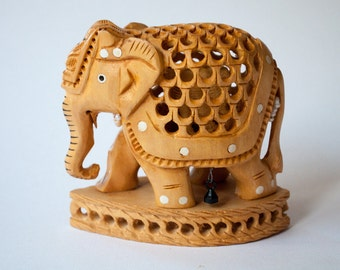 Unique Handmade Wooden Pregnant Elephant Figurine